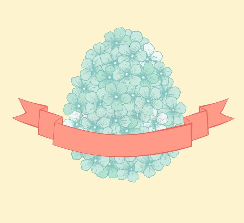 与花图表的美丽的复活节贺卡以与丝带标记的鸡蛋的形式。手拉的等高线和strok 向量例证