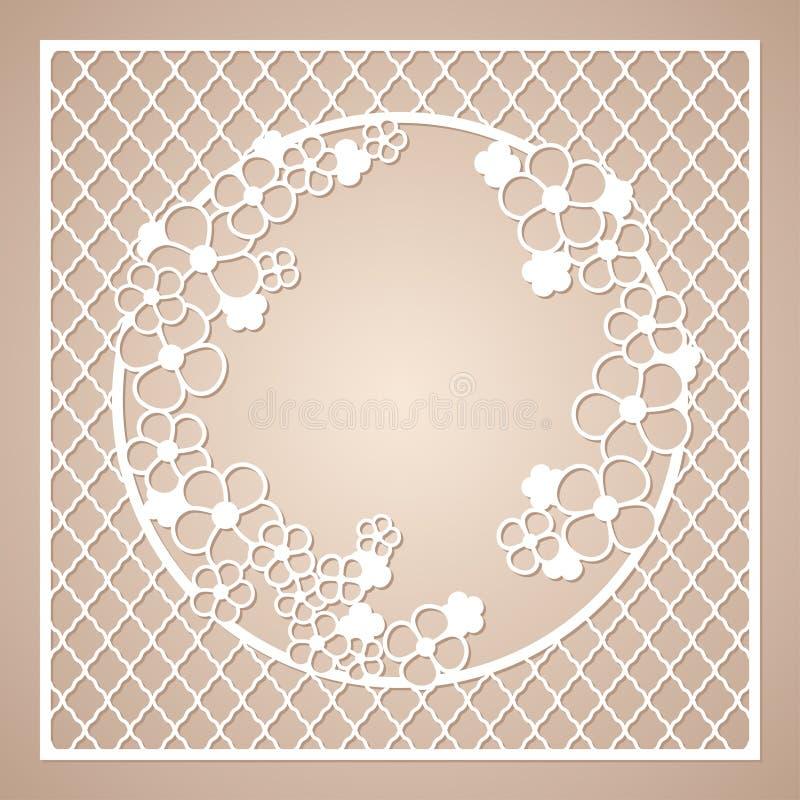 与花圆的花圈的透雕细工方形的框架  激光切口模板 库存例证