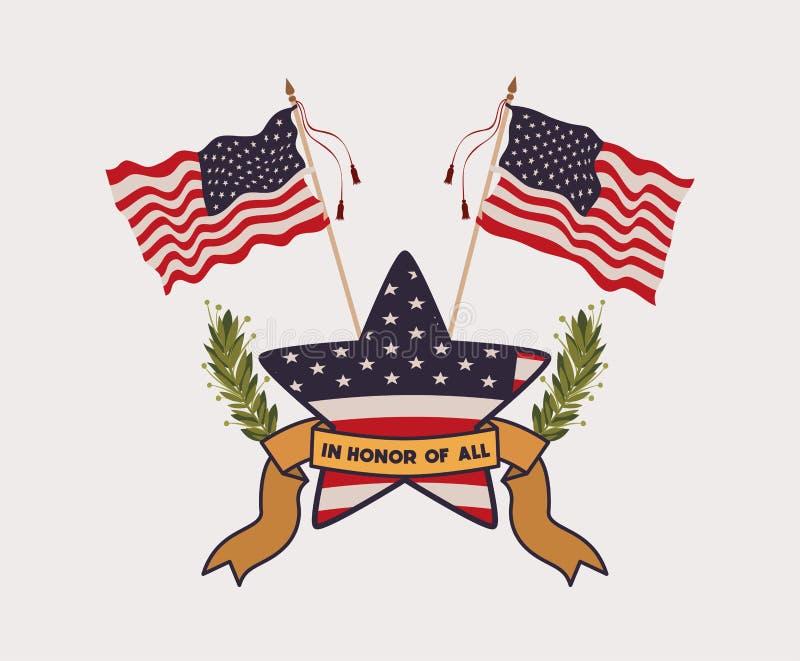 与花圈和阵亡将士纪念日象征美国旗子的星  皇族释放例证