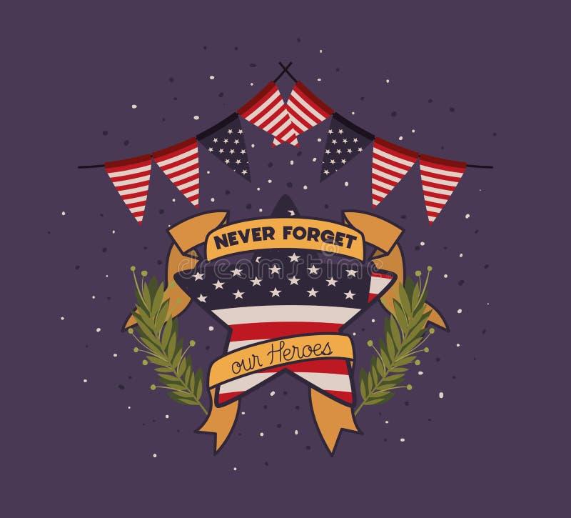 与花圈和阵亡将士纪念日象征美国旗子的星  库存例证