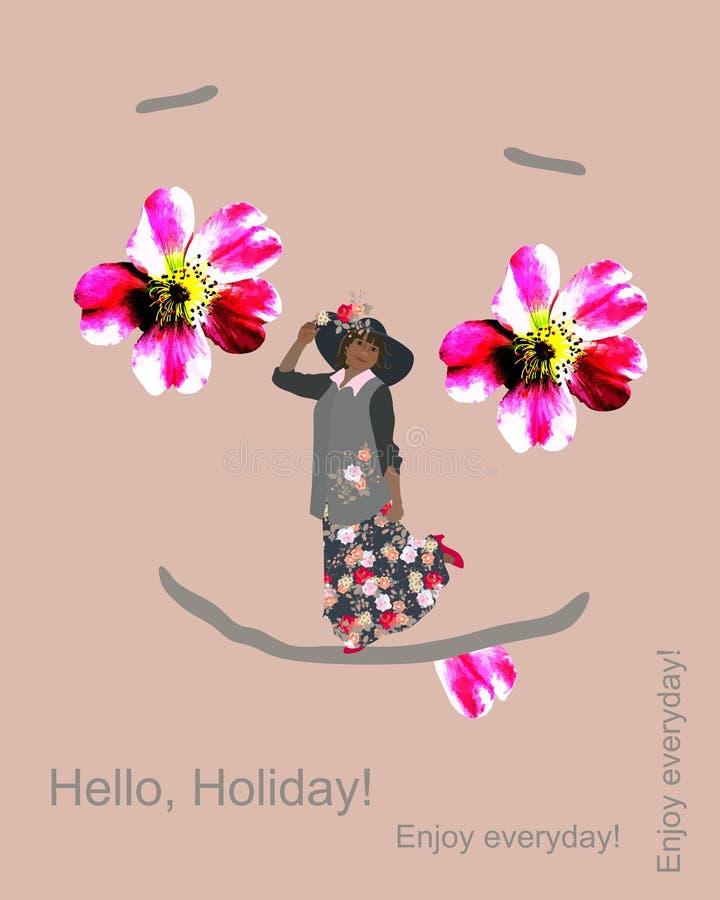 与花姑娘的概念性例证帽子的和与眼睛的抽象快乐的面孔以野生玫瑰的形式花  库存例证