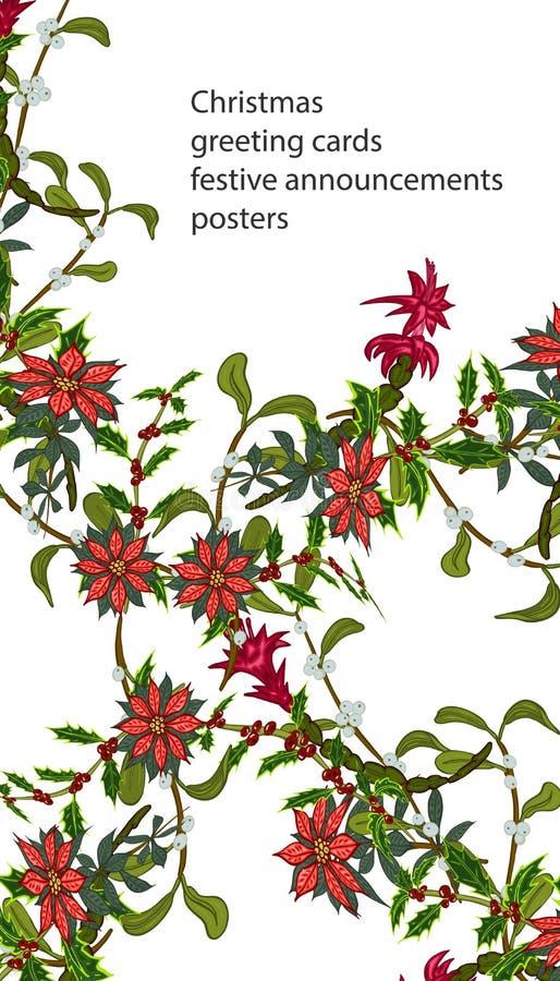 与花您的设计的,贺卡,欢乐公告的圣诞节模板 向量例证