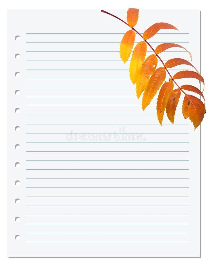 与花揪秋天叶子的笔记本纸  库存图片