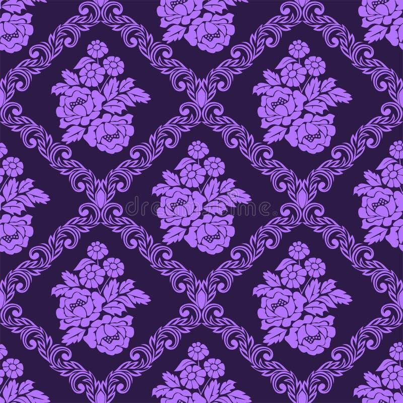 与花束花的无缝的锦缎墙纸 皇族释放例证