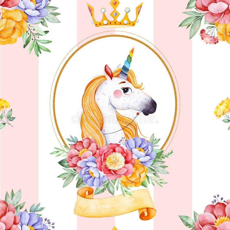与花束,花,丝带,公主的浪漫无缝的童话纹理 向量例证