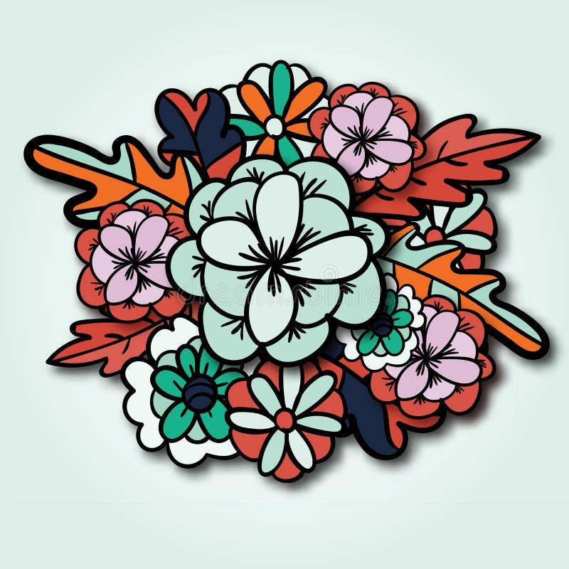 与花束,野花,叶子的五颜六色的植物的卡片 皇族释放例证