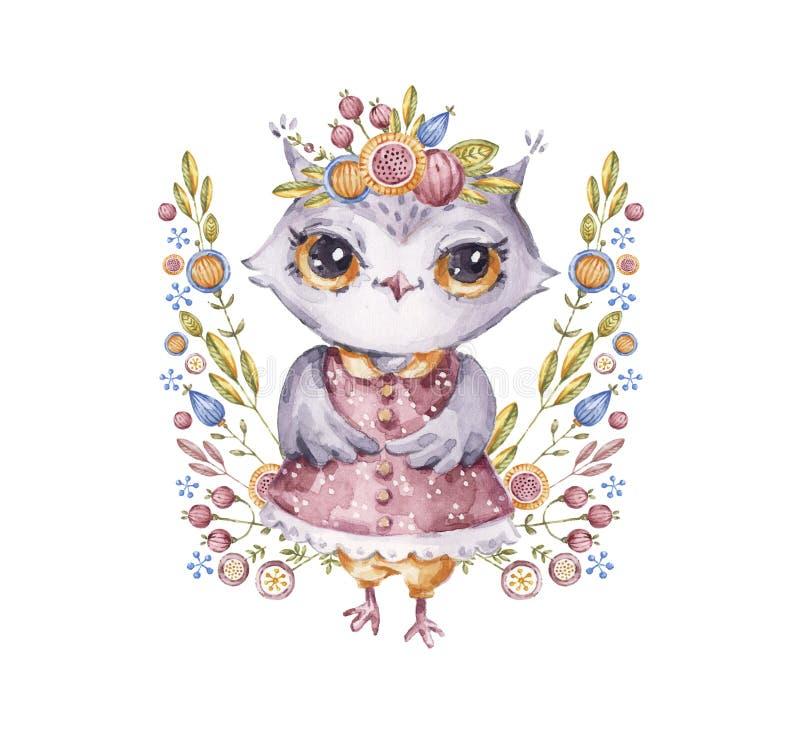 与花构成的逗人喜爱的水彩猫头鹰 库存例证