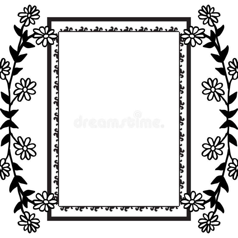 与花框架在白色背景,独特的样式的葡萄酒卡片 ?? 库存例证
