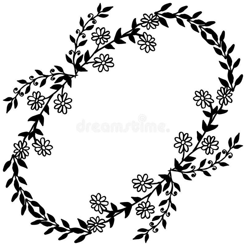 与花框架在白色背景,独特的样式的葡萄酒卡片 ?? 向量例证