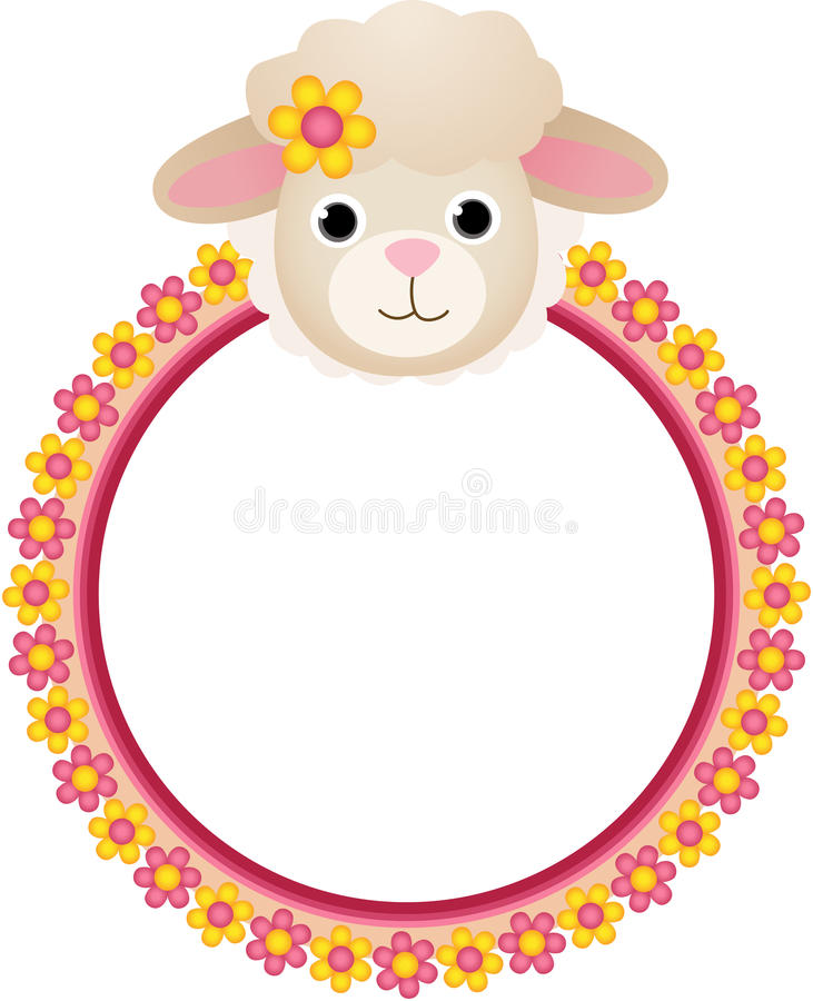与花框架的绵羊 皇族释放例证