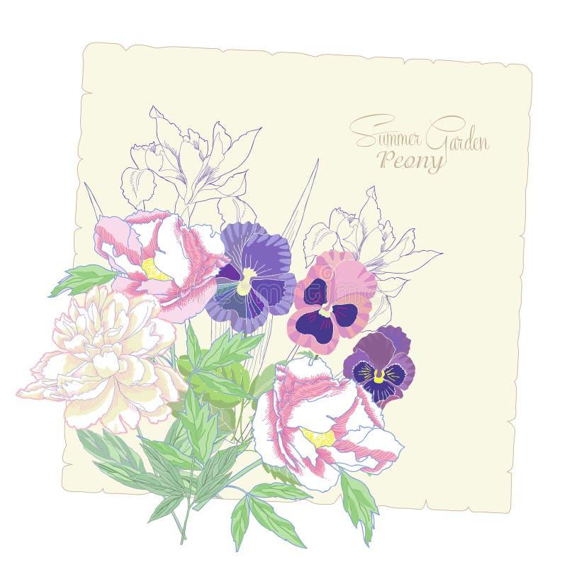 与花牡丹、虹膜和蝴蝶花03的背景 向量例证