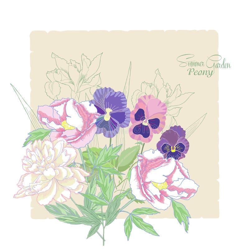 与花牡丹、虹膜和蝴蝶花01的背景 皇族释放例证