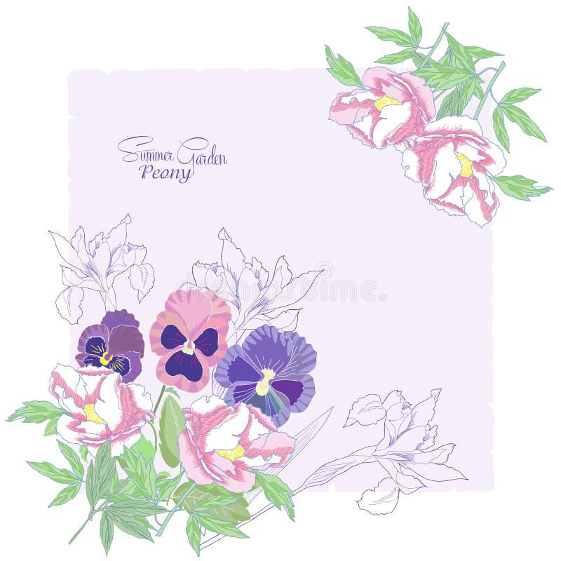 与花牡丹、虹膜和蝴蝶花04的背景 皇族释放例证