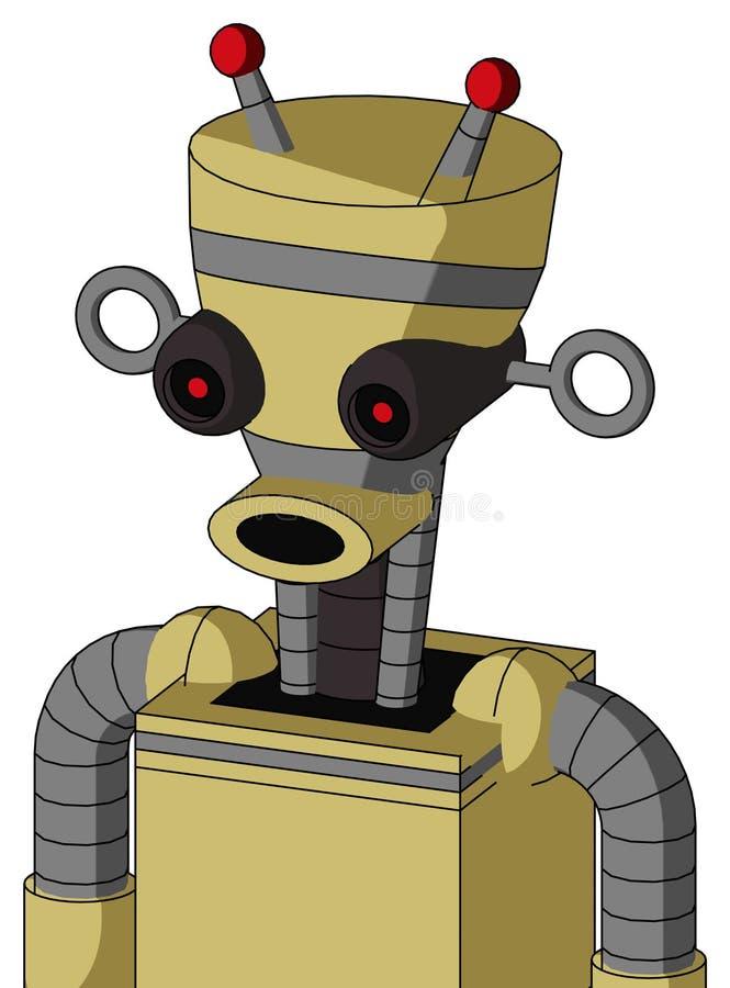 与花瓶头和圆的嘴和黑发光的红色眼睛和双重被带领的天线的黄色Droid 皇族释放例证