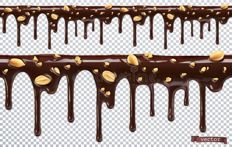 与花生坚果的滴下的巧克力 融解滴水 3d传染媒介,无缝的样式 库存例证