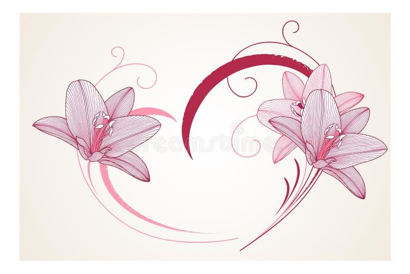 与花百合的手图画花卉背景 时髦看板卡的问候 也corel凹道例证向量 库存例证