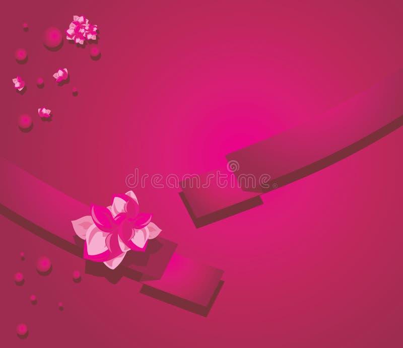 与花的丝带在绯红色背景 库存例证
