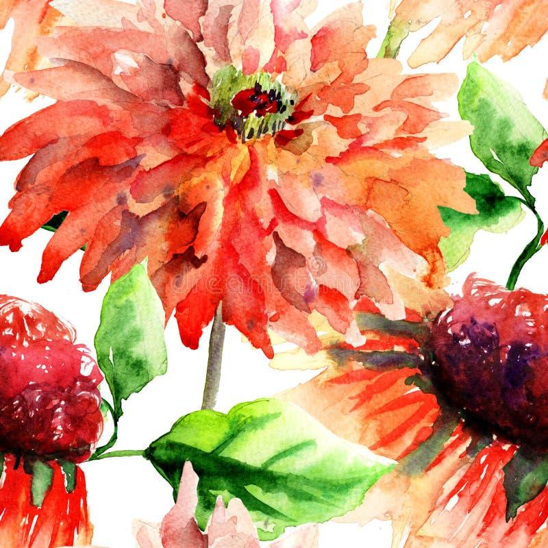 与花的五颜六色的夏天背景 向量例证