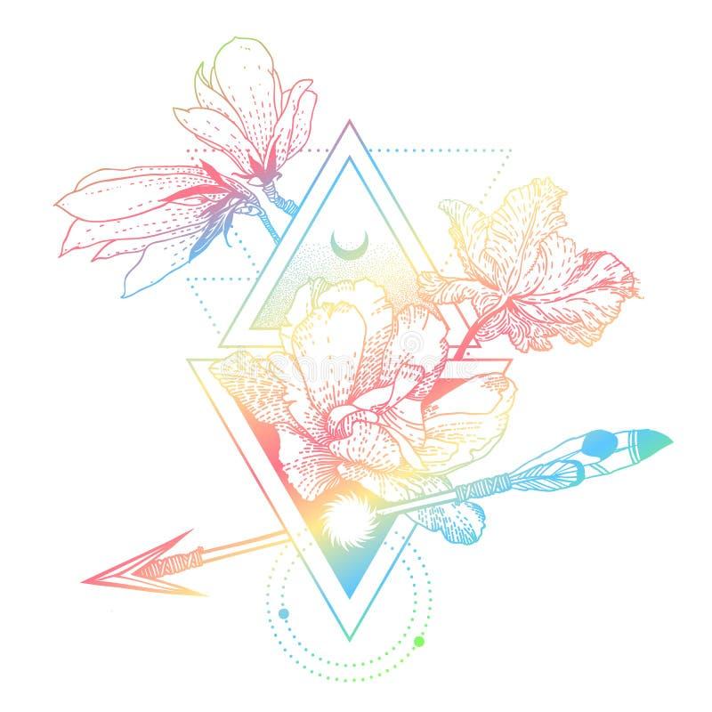 与花的传染媒介几何全息图方术标志,月亮,太阳 皇族释放例证