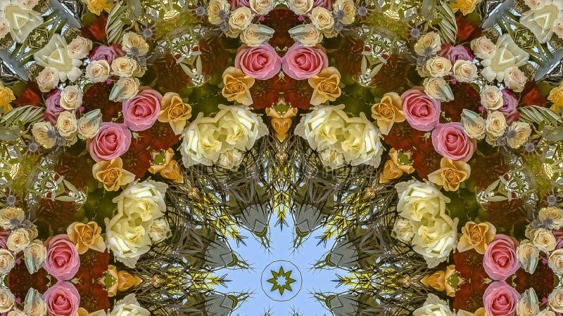 与花的全景五颜六色和繁忙的设计从婚礼 库存照片