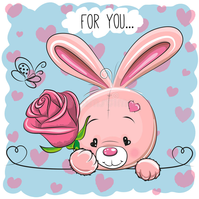 与花的动画片兔子 库存例证