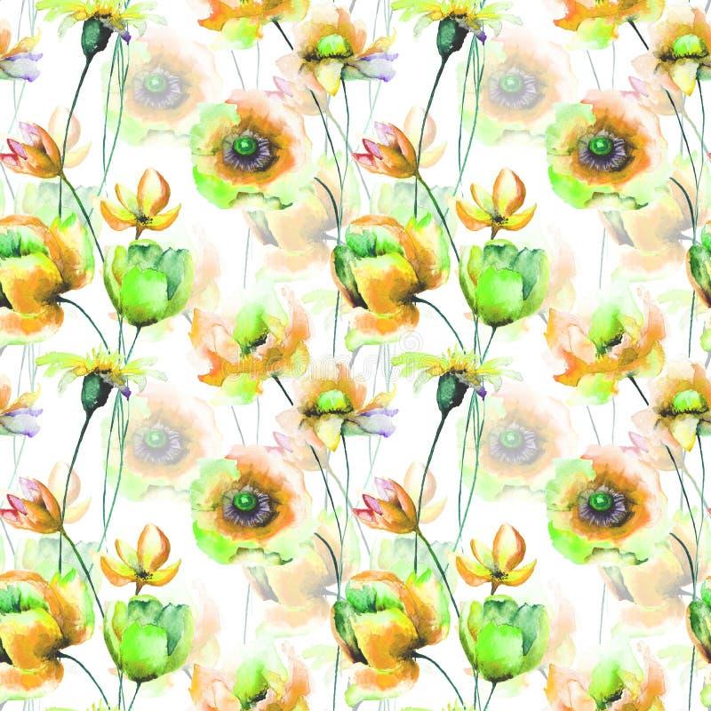 与花的原始的水彩例证 向量例证