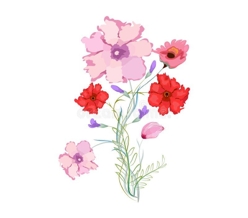 与花的原始的水彩例证 库存例证
