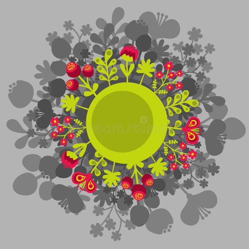 与花的圆的横幅。 皇族释放例证
