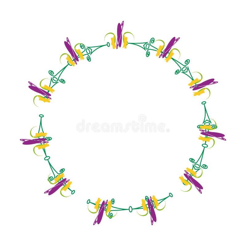与花的圆的欢乐花圈 与紫色花传染媒介eps10的Wheath 库存例证