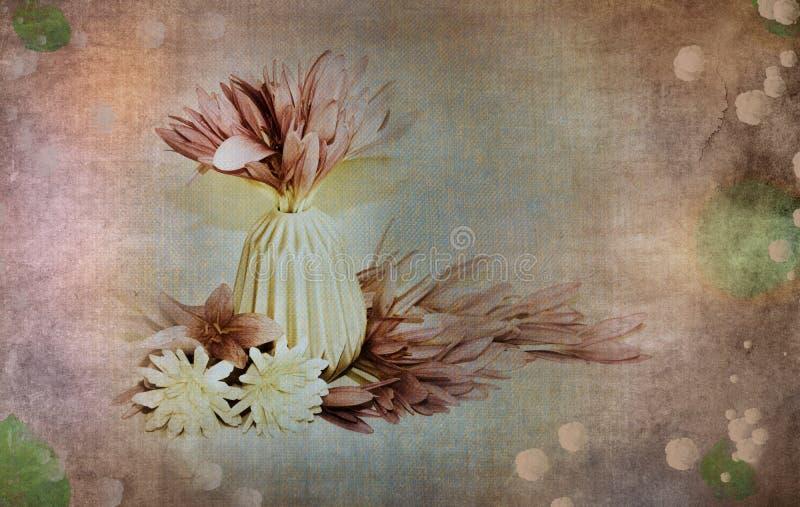 与花的场面在中立,浪漫,软,淡色的一个花瓶与老,古董,在葡萄酒背景的年迈的神色 向量例证