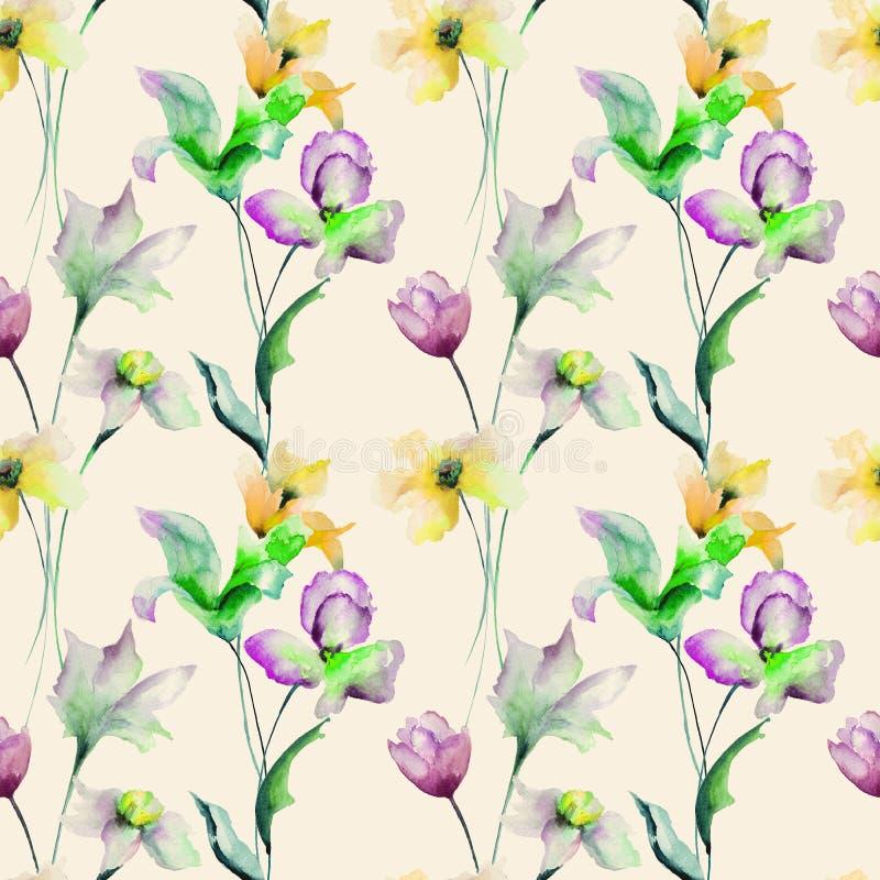 与花的夏天无缝的样式 库存例证
