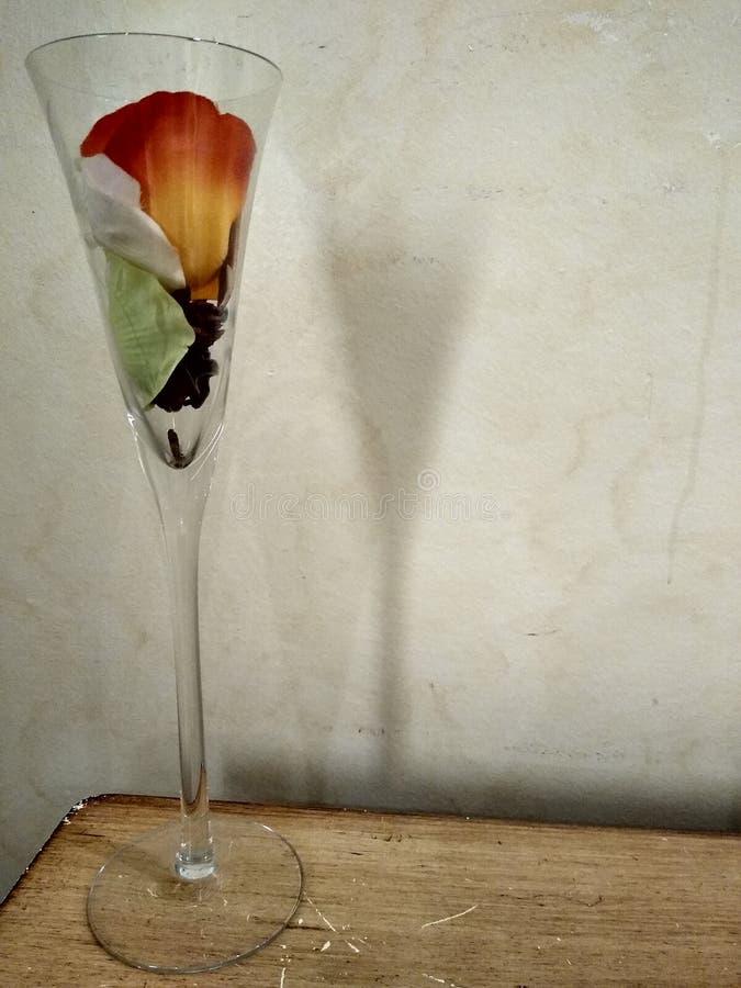 与花的大玻璃 免版税库存照片