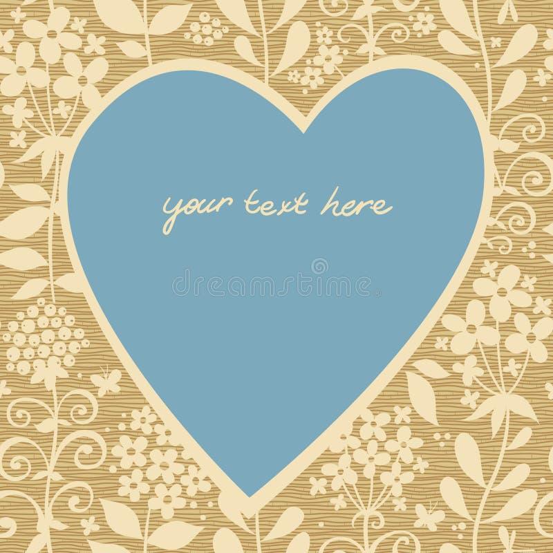 与花的大蓝色心脏在轻的无缝的背景。 库存例证