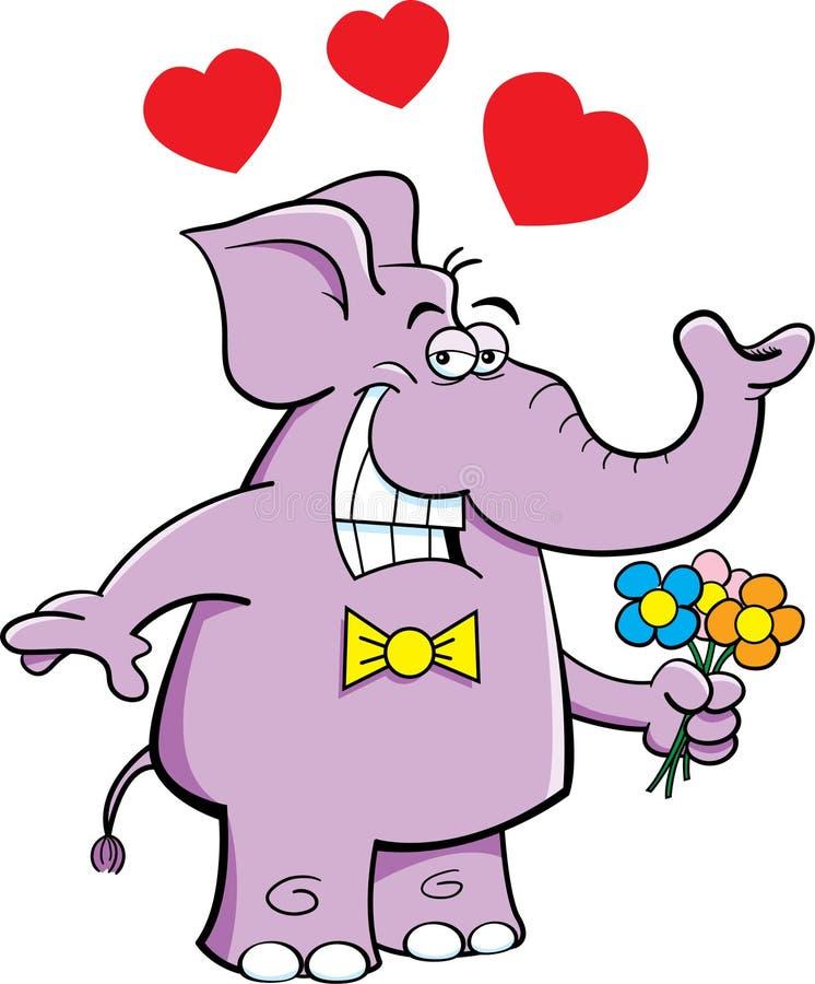 与花的大象 向量例证