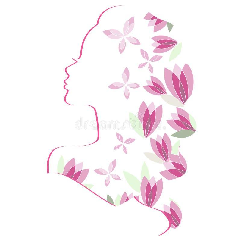 与花的妇女剪影 库存例证