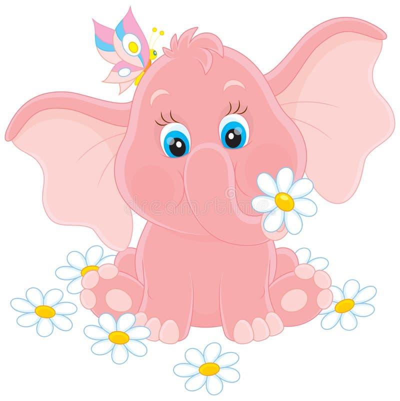 与花的小的大象 库存例证