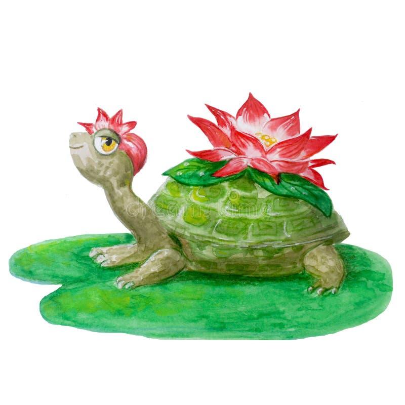与花的快活的水彩乌龟 在儿童的设计的白色背景隔绝的手拉的微笑的动物 向量例证