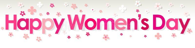 与花的愉快的妇女` s天横幅桃红色在白色灰色背景 向量例证