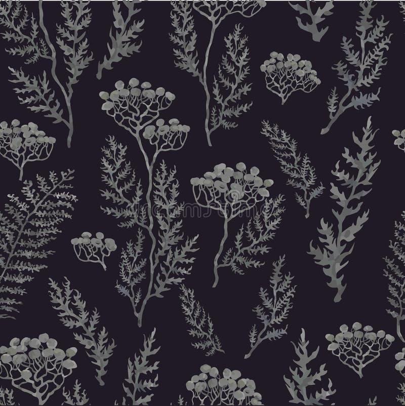 与花的手拉的例证的无缝的样式 库存例证
