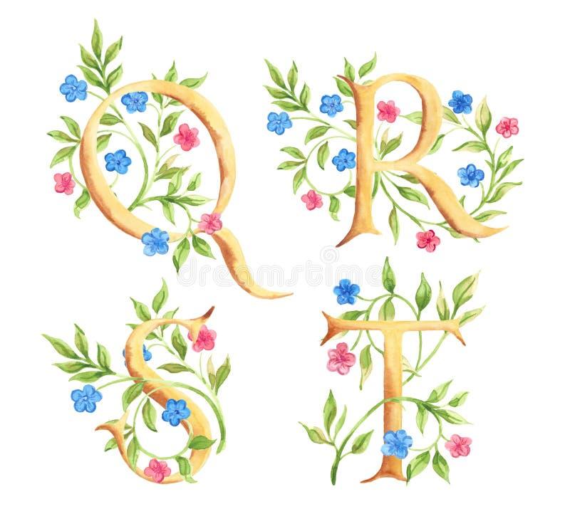 与花的手拉的水彩字母表 组合图案 库存例证
