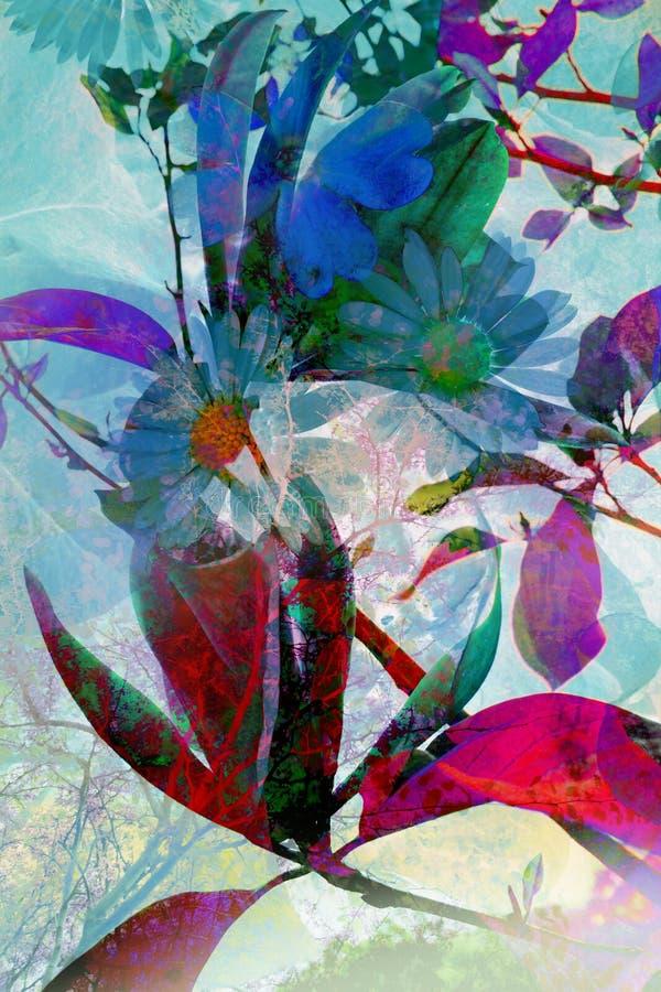 与花的抽象艺术性的背景 免版税库存照片