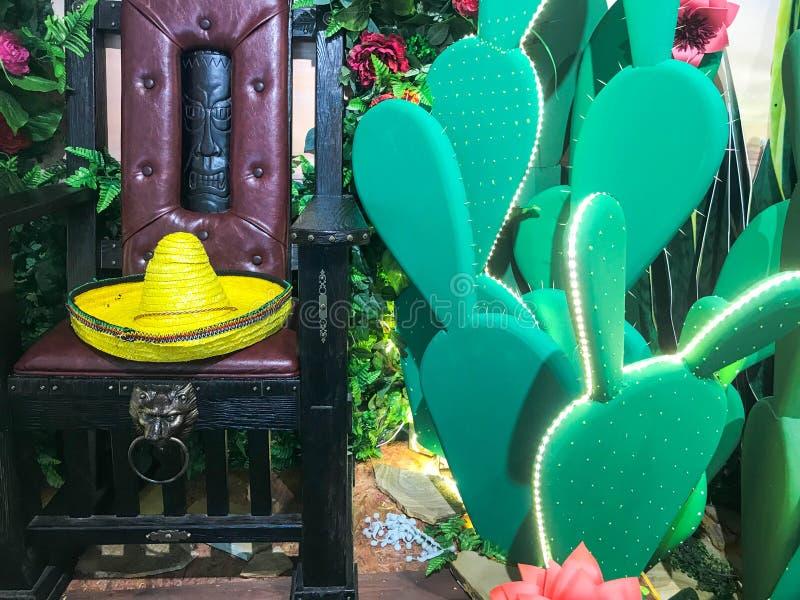 与花的摘要塑料滑稽的美丽的快乐的墨西哥仙人掌和与sambrero帽子的一把椅子 ?? 免版税库存照片