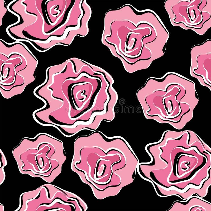 与花的摘要绘画普遍徒手画的水彩无缝的样式 背景的,卡片,横幅,海报图形设计 向量例证
