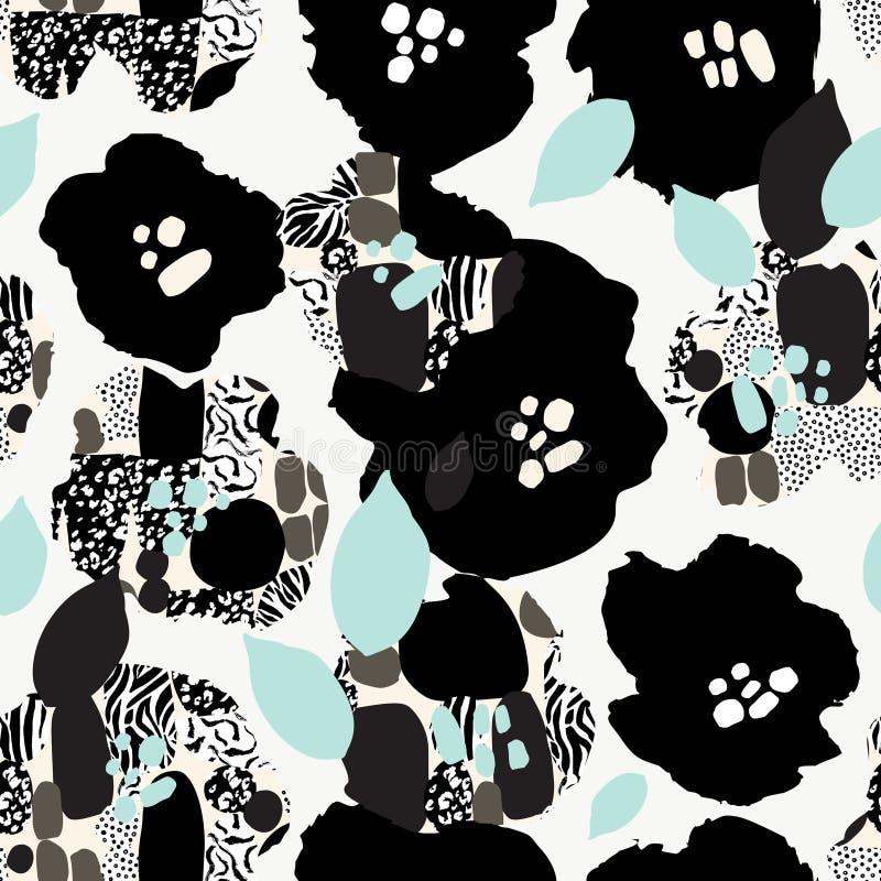与花的摘要花卉无缝的样式在黑,白色和淡色 库存例证