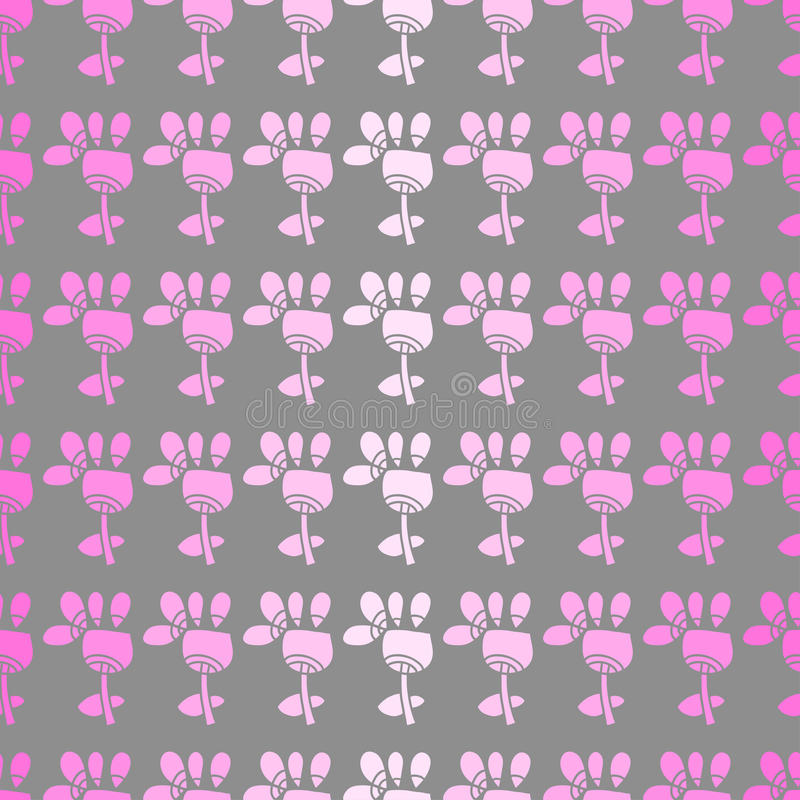 与花的无缝的样式在灰色背景