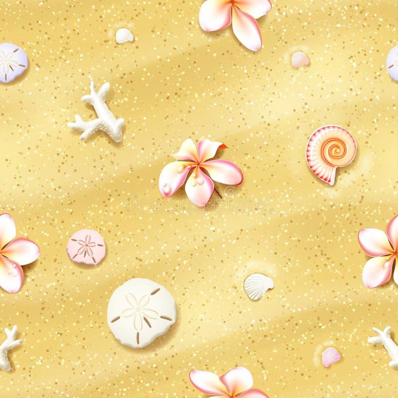 与花的无缝的沙子背景 皇族释放例证