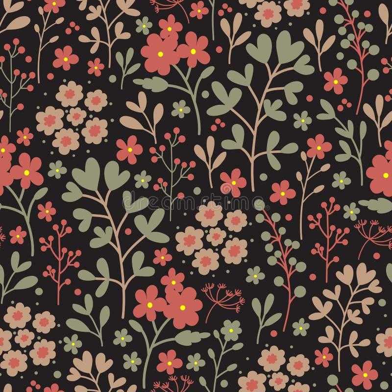 与花的无缝的花卉样式在黑暗的背景 葡萄酒 皇族释放例证
