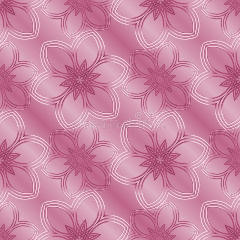 与花的无缝的规则样式 桃红色背景 库存例证