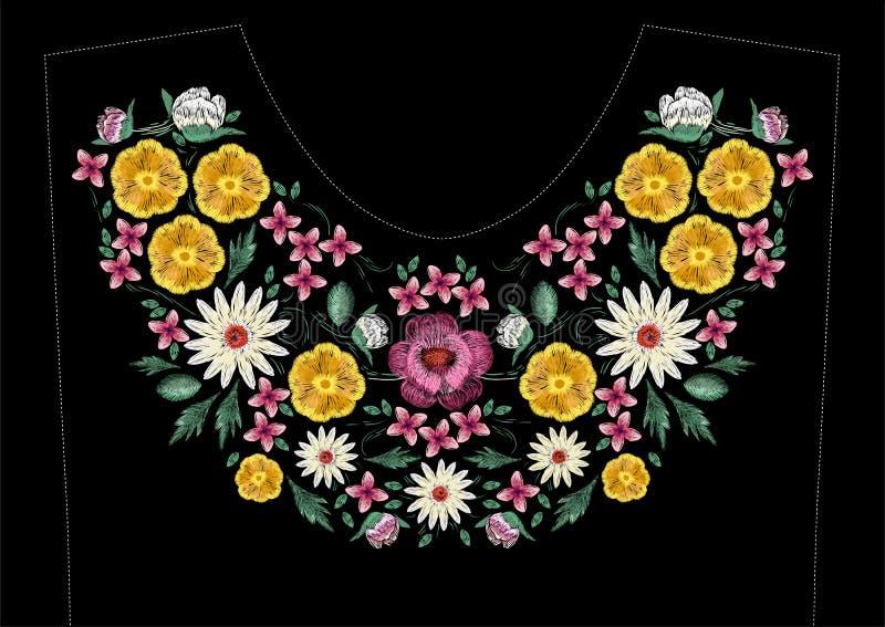 与花的明亮的缎纹刺绣针迹刺绣设计 民间线礼服领口的花卉时髦样式 种族五颜六色 皇族释放例证