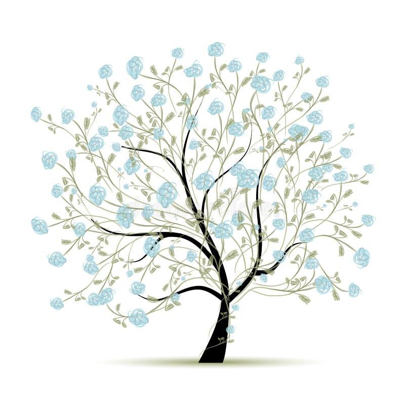 与花的春天树您的设计的 库存例证